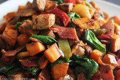 Paleo Breakfast in a skillet Sweet Potatoes, garlic, bell pepper & onion, tomato... breakfast sausage/bacon, fresh spinach, season to taste with preferred salt.  Gotta try this one.