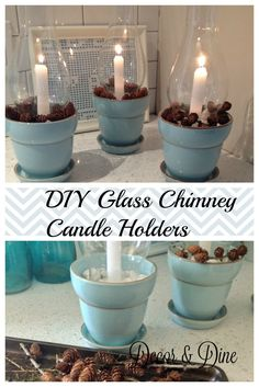 You can never have enough centerpieces or candle holders.so I decided to grab some things I had around the house in order to create something new. These glass chimney candle holders came together in minutes with just a few items. Old Wine Bottles, Recycled Glass Bottles, Christmas Candle Holders, Candle Holder Decor, Farmhouse Bathroom Art, Wine Cork Art, Wine Bottle Candles, Bottle Crafts, Candle Making