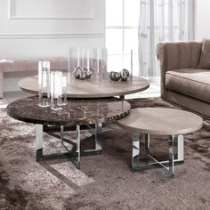 Luxury Nest of Round Coffee Tables at Juliette's Interiors, a large collection of modern Italian furniture.