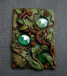 Dragon Polymer Clay Journal Cover   Droplets in the forest ACEO by MandarinMoon