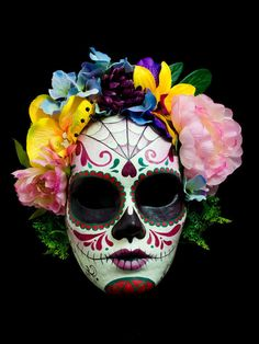 example of decorated papier mache sugar skull masks halloween inspo pinte