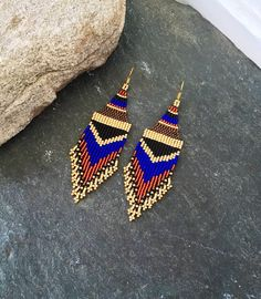 Excited to share the latest addition to my #etsy shop: Native American Beaded Minimalist Earrings Gold Bronze Black Orange Red Dark Blue Everyday Glass Seed Bead Jewelry Mothers Day Ethnic Gift