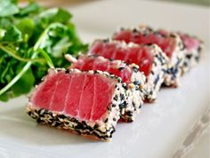 Seared Ahi Tuna Steak with Wasabi Sauce An easy recipe for dinner time that is healthy and delicious. Ahi tuna combined with the perfect seasonings. Ahi Tuna Recipe, Tuna Steak Recipes, Fish Recipes, Seafood Recipes, Cooking Recipes, Meal Recipes, Dinner Recipes, Vegetarian Recipes, Think Food