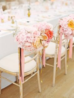 Flower decorated chairs - perfect for pastel theme weddings!