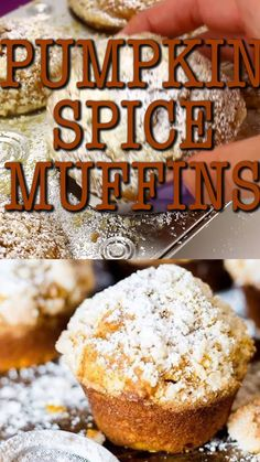 These pumpkin spice muffins are lightly spiced, soft and moist. The streusel and powdered sugar on top adds a hint of sweetness to each bite. #muffins #pumpkin #pumpkinspice