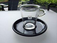 Nespresso Glass Lungo + Espresso Cups - Set of 4 pc with saucers.