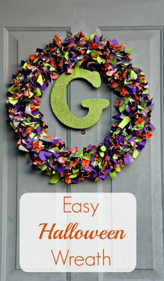 Skip the spooky and go for cute this Halloween with this easy to make Halloween fabric wreath! Pick your fabrics and tie them on to a wreath for a fun and easy craft.
