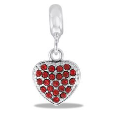 DaVinci Beads Silver Dangle Heart With Red Stones Jewelry
