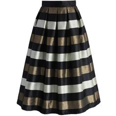 Chicwish Cheers Stripes Pleated Midi Skirt in Black ($42) ❤ liked on Polyvore featuring skirts, brown, stripe midi skirt, pleated skirt, striped skirts, calf length skirts and brown pleated skirt