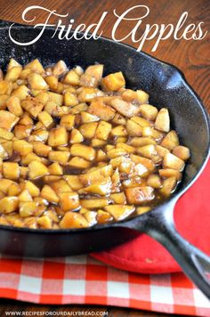 Southern Fried Apples - What is my secret to the Best Southern Fried Apples?  SEE Recipe Here: http://recipesforourdailybread.com/2014/08/30/spiced-waffles-southern-fried-apples/ #apples #friedapples #sidedish