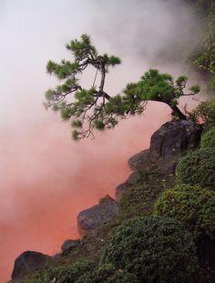 Blood Pond Hot Spring, Beppu Japan - kind of makes me think of  dragon's lair;)