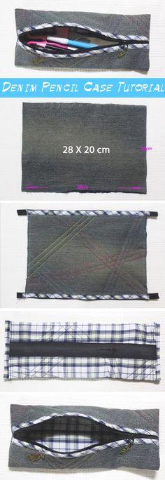 DIY Denim Pencil Case.  Photo Sewing Tutorial.   http://www.handmadiya.com/2016/05/diy-denim-pencil-case.html