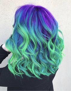 Cute Hair Colors, Pretty Hair Color, Beautiful Hair Color, Hair Color Purple, Hair Dye Colors, Blue Hair, Purple And Green Hair, Neon Purple, Peacock Hair Color