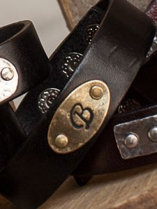 "3/4"" Oval Initial Leather Bracelet Choose your Leather color (Black or Brown) and your Metal Color for your Tag."