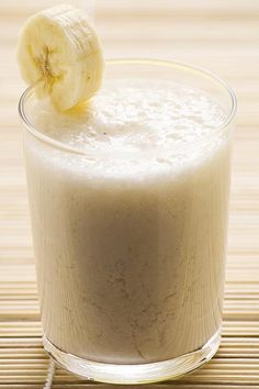 Coconut Banana Bliss Smoothie: yogurt, almond milk, banana, coconut oil, shredded coconut.