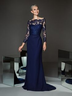 Bridesfamily Graceful Lace & Four Way Spandex Off-the-shoulder Neckline Sheath/Column Mother Of The Bride Dresses With Belt Evening Gowns With Sleeves, Evening Dresses, Prom Dresses, Formal Dresses, Bride Dresses, Navy Blue Evening Gown, Sequin Party Dress, Groom Dress, Lace Sleeves