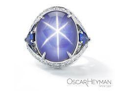 Platinum Star Sapphire & Sapphire Diamond Ring by Oscar Heyman