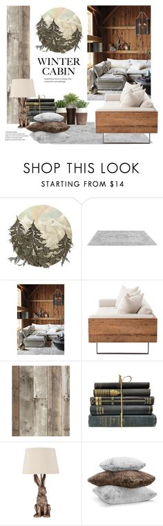 """Cozy Winter Cabin"" by groove-muffin ❤ liked on Polyvore featuring interior, interiors, interior design, home, home decor, interior decorating, Anthropologie, Tempaper, Hudson Park and rustic"