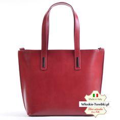 c95eff77340da Nowe torebki skórzane · Model Patrizia w pięknym odcieniu koloru  czerwonego. Torba na ramię z licowej skóry naturalnej produkcji