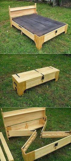 Wood Pallet Hidden Convertible Bed