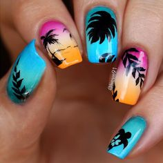 Tropical Sunset nails by @lieve91