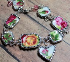 Broken China Jewelry, Bracelet, Old Country Rose, Adjustable
