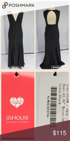 JJ'S House Deep V Black Sweep Train Evening Gown Deep V Black Sweep Train Evening Gown.         NEVER WORN NEW WITH TAGS -Silhouette:  Trumpet/Mermaid  -Neckline: Deep V -Sleeveless - Sweep Train  -Material: 100% Polyester  -Fully lined   -Embellishments: None -Size:US16W  UK 20  EU 46 Bust=43.00inch Waist=36.25inch Hips=45.50inch Hollow to Floor=61.00inch JJ's House  Dresses
