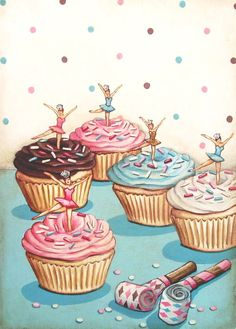 vintage bakery inspired ballerina birthday party cupcakes print medium by Everyday is a Holiday. For Paige Pie's birthday! Cupcake Kunst, Cupcake Art, Cupcake Cookies, Cupcake Pics, Big Cupcake, Ballerina Cupcakes, Cupcake Illustration, Ballerina Birthday Parties, My Birthday Cake