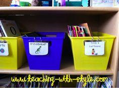 Classroom DIY: DIY Book Bin Labels using name tag sleeves Library Book Labels, Book Bin Labels, Basket Labels, Book Bins, Classroom Environment, Classroom Setup, Classroom Design, School Classroom, Classroom Libraries