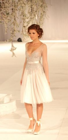 Short reception dress back to coordinating gown.  May WWSF