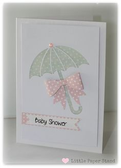 Baby Shower Card - Baby Girl Umbrella and Bow Polka dots