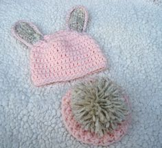 Crochet Baby Hat, Baby Bum Cover, Baby Bunny Hat, Baby Girl Hat, Crochet Bunny Tail, Newborn Girl Hat, Infant Bunny Hat, Pink