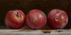 daily painting titled Three red plums - click for enlargement