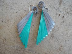 Aqua blue gray dangle earrings made from metallic quilling paper Gift for her Paper filigree
