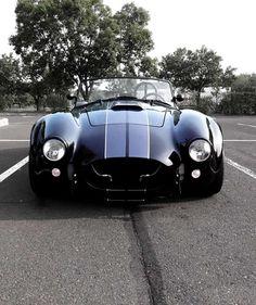 BLACK WITH SILVER STRIPES - A/C Cobra