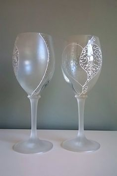 Hand Painted wine glasses. Half frosted/ half clear hearts...to melt anyone's heart!