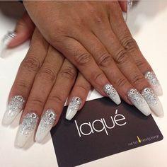 Full set with diamond dust glitter and Swarovski $85 #laquenailbar - @laquenailbar- #webstagram