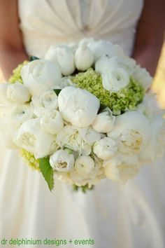 White peony wedding bouquet by Dr Delphinium