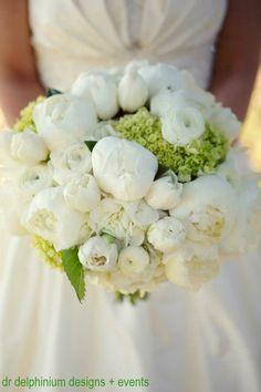 White peony wedding bouquet by Dr Delphinium