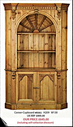 KeenPine Gothic Style Large Corner Cupboard