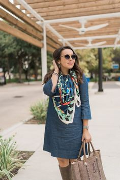 Krewe STL II sunglasses, and chambray shift dress, with mutlicolor scarf and tan boots - great outfit for travel, vacation, and spring time Spring Fashion Outfits, Fashion Dresses, Colorful Fashion, Love Fashion, Chambray, Holiday Fashion, Winter Fashion, Confident Woman, Petite Women