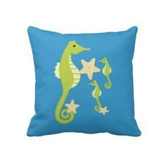"""Green Sea Horses Pillow $72 Throw Pillow 20"""" x 20""""  Accent your home with custom pillows. Made of 100% grade A cotton. The perfect complement to your couch, custom pillows will make you the envy of the neighborhood.      Sizes 20""""x20"""" (square) and 13""""x21"""" (lumbar).     100% grade A woven cotton.     Fabric is made from natural fibers, which may result in irregularities     Made in the USA.     Hidden zipper enclosure; synthetic-filled insert included.     Machine washable."""