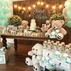 An adorable teddy themed baby shower table