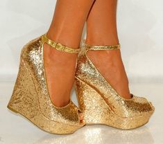 WOMENS GOLD PLATFORM GLITTER SHIMMER SPARKLY HIGH WEDGES SHOES