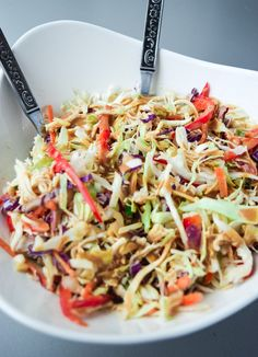 Asian Chicken Chopped Salad (Whole30 Paleo) - a deliciously nutritious salad with a sweet and tangy Asian dressing, free of soy or sugar!   tastythin.com