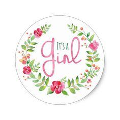 Watercolor Floral Wreath It's A Girl Classic Round Sticker @zazzle June 10 2016 #junkydotcom 4x