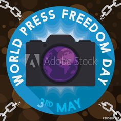 Camera in Button and Broken Chains for Press Freedom Day, Vector Illustration - Buy this stock vector and explore similar vectors at Adobe Stock Freedom Day, World Press, Broken Chain, Illustration, Image, Illustrations