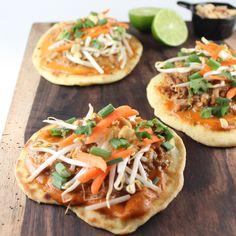 Thai Peanut Pulled Pork Roti Bread Pizzas #recipe #thai