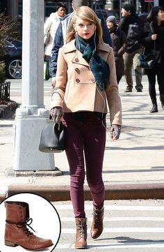 Taylor Swift's Combat Boots from Fall 2014 Shoes & Boots Guide  Looking for Tay's boots on the cheap? Try these Steve Madden Cognac Combat Boots for $85.