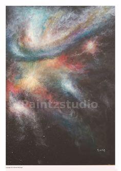 Abstract art painting stars print nightlife space by Paintzstudio